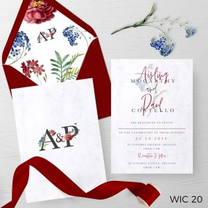 Red and White Wedding Invite