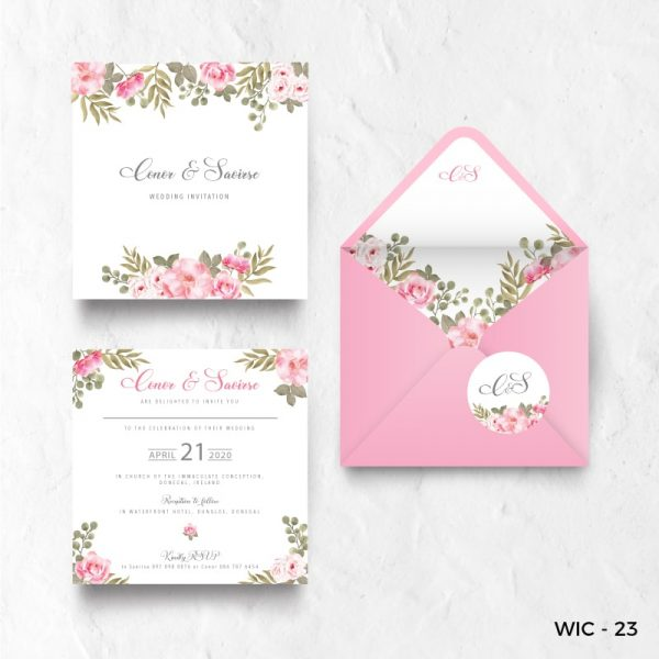 Pink flower wedding invites