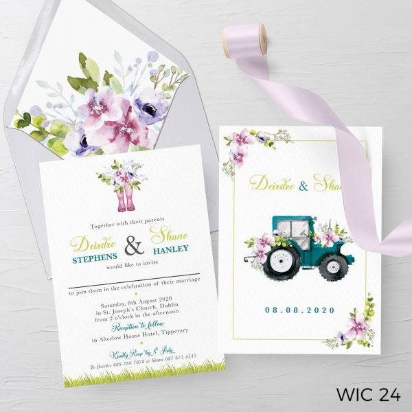 tractor-wedding invite